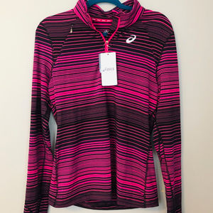Asics striped sport jacket half zip - Large